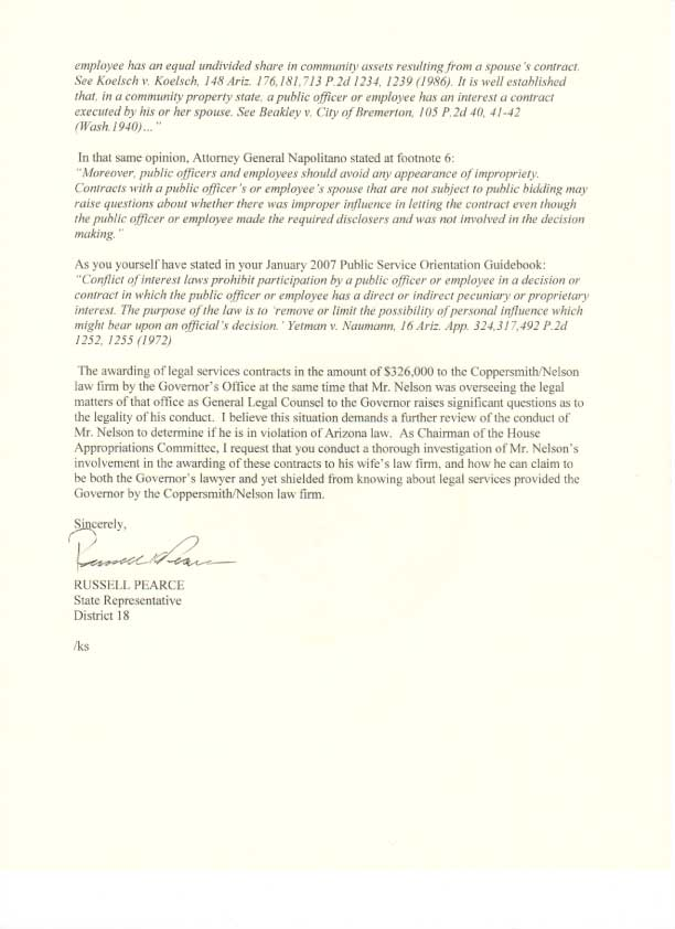Russell Pearce Letter, Page 2